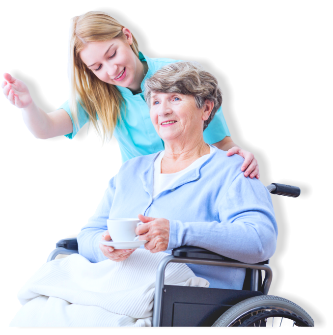 elder woman on a wheelchair with caregiver