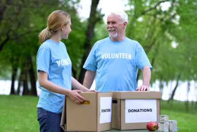 volunteers with donation boxes
